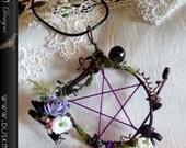 Purple pentagram dream catcher necklace - Goth, faeire, fairy, hippie, boho, witchcraft, pagan
