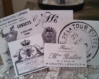 NEW assorted french flea market vintage labels black & white stickers peel and stick