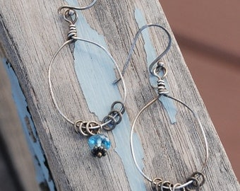 Sterling Silver and LONDON BLUE TOPAZ Hoop earrings Oxidized darkened Light Everyday Earrings
