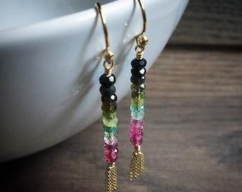 Tourmaline Tassel Earrings, Rainbow Tourmaline Gemstone Tassel Dangle Earrings, Gold Filled Earrings, Boho Jewelry