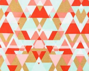 Coral and mint Triangles fabric Fat Quarter, 1/2 yard or by the yard quilting apparel  fabric cotton fabric