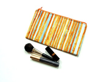 Zipper pouch cosmetic bag, makeup case, orange blue stripes designer fabric, gift for her under 20, Mothers day gift, pencil case