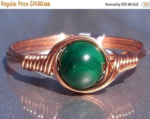 30% OFF Malachite Wire Wrapped Ring in Copper Custom Sized
