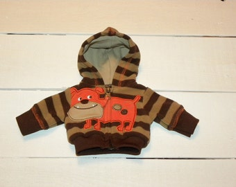 Brown Striped Hooded Jacket - 14 - 15 inch boy doll clothes