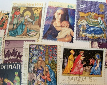 40 Christmas Postage Stamps, Postage Stamps, Nativity, Madonna, Vintage Stamps