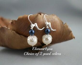 Bridesmaid earrings, Burgundy pearl earrings Silver filigree jewelry Bridal party gift Clip ons Swarovski pearl Short dangle Vintage style