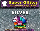 Silver  Super Glitter  HTV Heat transfer thermal press vinyl, T- Shirt film Great for Cheer Bows crafts or sign cutter Pick your size