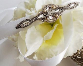 Flower Girl Sash, Rhinestone Beaded Sash, Crystal Belt, Wedding Sash, Rhinestone Sash
