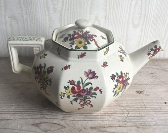 Old Leeds Sprays Royal Doulton Antique Ironstone Teapot Floral Shabby Cottage Chic Country D3548