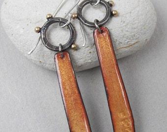 Long architectural urban earrings; modern oxidized silver and enamel drop earrings; contemporary enamel statement earrings
