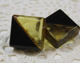 Chunky Vintage Square Black and Applejuice Bakelite Pin Buttons Art Deco Bakelite Applejuice