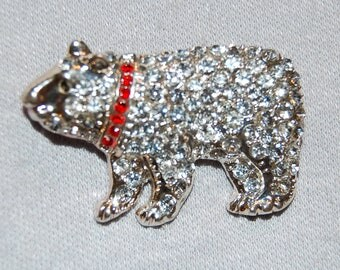 Vintage / Bear / Brooch / Rhinestone / Silver Tone / old jewelry / animal / wild