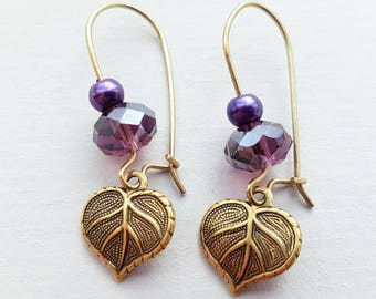 Amethyst Leaf Earrings, Purple Crystal Earrings, Pearl Earrings, Antique Gold Earrings, Gold Filled Ear Wires, Other Colours Available