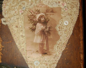 Christmas Winter Edwardian Girl  Vintage Lace Heart Collage Ornament