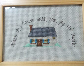 finished cross stitch 5x7 framed Bless this house