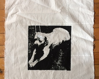 One of a kind Protective White Dog Talisman Patch vintage fabric cotton screenprinted special gift