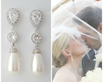 Pearl Wedding Earrings Pearl Bridal Teardrop Swarovski Earings Rose Gold Pearl Crystal Earrings Bridal Jewelry, Adalyn