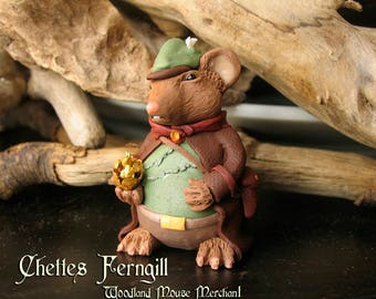 Chettes Ferngill- Merchant of the Muridae Market - Mouse Figurine with Golden Pine Cone - Forest Woodland Mouse - Polymer Clay Sculpture
