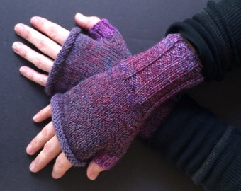 Fingerless Gloves - Hand-Knit Gloves - Women's Fingerless Gloves - Half Gloves  - Purple & Blue - Women's Winter Gloves