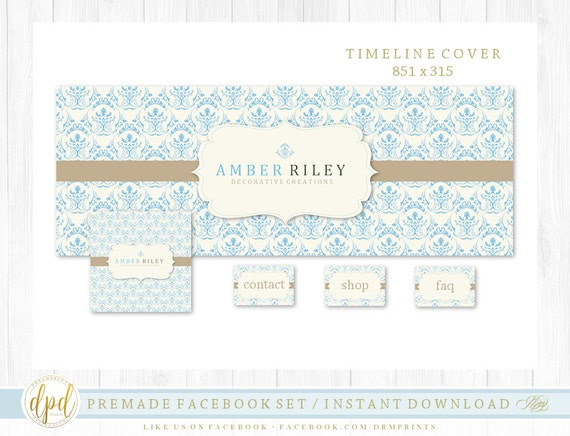 Premade DIY Facebook Set | Facebook Timeline | Facebook Package | Facebook Graphics | Business Branding | INSTANT DOWNLOAD-AA118