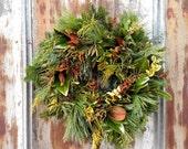 "20"" Rose Gold Wreath- Fresh, Natural, Christmas"