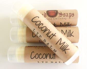 Coconut Milk Lip Balm -  Natural Lip Balm, Cocoa Butter Lip Balm, Beeswax Lip Balm