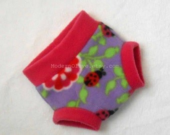 Small Ladybug Anti-Pill Fleece Fitted Diaper Soaker/Fitted Cloth Diaper Cover, Fuchsia Lavender Pink Purple, Ready to Ship New Baby Infant