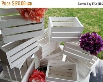 SALE wedding crates 10 wooded crates / white wedding / wedding reception / table centerpiece / planter box / flower vases /wedding decoratio