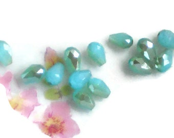 Aurora aqua Glass Beads Faceted Teardrop AB loose Spacer Blue 5x3 Tiny Shabby chic. #1597M