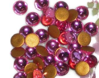 Vintage Glass Cabochons,Pink Rose cabochons,6mm cabochons,Round rHinestones,NOS cabochons,vintage findings,Flat Back Gold Foil #1167D