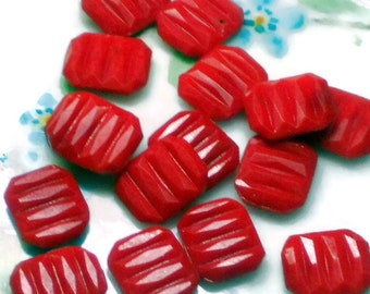 10mm Vintage Cabochons square cabochons,ribbed cabochons, red Czech Pressed Glass, Square NOS.#1474R.