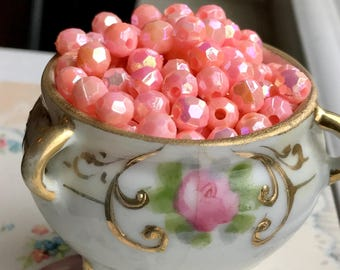 Shabby Chic Pink Beads,Pink Beads,Lucite Beads,Vintage AB Beads Faceted 6mm Pink Plastic Shabby Chic cottage Aurora Borealis Pastel #1538