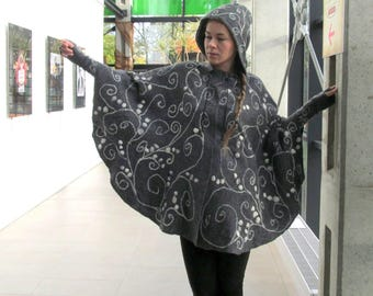 Elven cloak Felted Women Poncho Grey White wool Cape with hood Grey wool cape  poncho for women felted poncho with hood