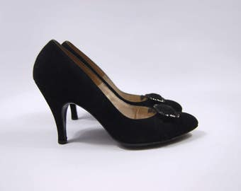 1950s Black Suede and Lace Heels / Marshall Field and Company size 6AA // Thick heel Pointed Toe