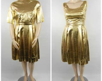 Late 1950s Gold Party Dress and Jacket - Volup XL 32 Waist // Gold lame lurex holiday Dress