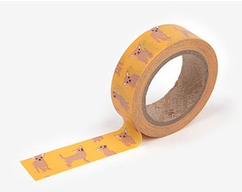 Chihuahua  printed Korean washi tape  for scrapbooking, decorations (15mm x 10m)