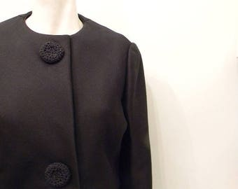 SALE vintage.  60s AMELIA GRAY Black Wool Cropped Jacket // Wool Blazer // S M