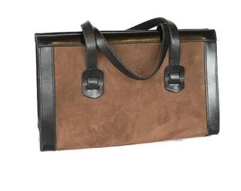 Vintage Leather Handbag, Suede Kelly Bag, A E Phelps, Oversized