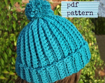 Easy crochet pattern for beginners, Beanie pattern, Child Hat pattern, Crochet hat pattern, Easy Ribbed Beanie pattern (C107), 3 sizes