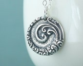 Holiday Sale Today Mandala Necklace, Spiral of Life,  Zen, Ocean Beach Jewelry, Sterling Silver Crescent Moon, Gift for Women Yoga Lover, Gi