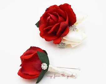 Corsage Boutonniere Red and Ivory with Rhinestones Real Touch Rose Wedding Corsage Mother of the Bride Father Flowers Prom Corsage
