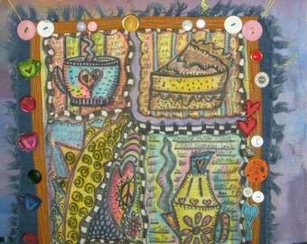 Mini Quilt, Shabby Chic, Coffee Morning, Journal Art Quilt, Hippie Art, Original, Feng Shui for the Kitchen