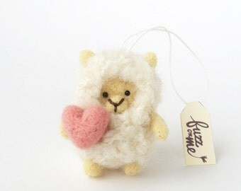 Valentine gift, felt miniature lamb, needle felted sheep with a pink heart, Easter, Spring decor, wool animal figurine