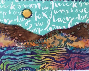 The lazy fox landscape fabric postcard