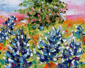 Bluebonnets  Sunrise painting original oil 12x12 abstract palette knife impressionism on canvas fine art by Karen Tarlton