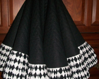 "58"" Black and White and Black Quilted Designer Reversible Christmas Tree Skirt  2017 Collection"