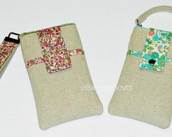 Linen Phone Case with Wristlet & Optional Cross Body Shoulder Strap -Vintage Japanese Natural Magenta Olive Green - iPhone 6 Plus Note