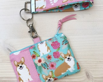 Corgi Sheltie or Chihuahua Dog Treat or Coin Purse - Blue Tooth Case with Wristlet - Pink & Aqua Floral  - Key Fob - Key Chain - Shelties