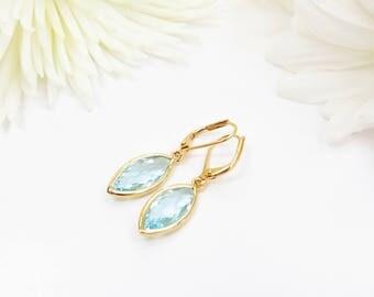 Aquamarine Marquise Crystal Earrings, Blue And Gold Gem Earrings, Dangle Earrings, Hypo Allergenic Leverback Hooks