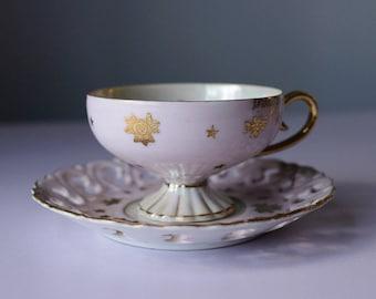 Teacup and Saucer Matasco Japan Lusterware Pink & Gold Stars Vintage